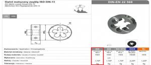 Narzynka maszynowa ISO DIN-13